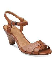 Look at this Cognac Evant Regency Leather Sandal on #zulily today!