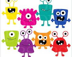 monsters clip art digital aliens clipart Monsters by PaperiePixel Cute Monsters, Monsters Inc, Little Monsters, Monster 1st Birthdays, Monster Birthday Parties, Monster Party, Clipart, Classe Dojo, Bacteria Cartoon