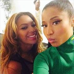 Nicki Minaj posted a selfie with Beyonce after they performed together in Paris Friday.