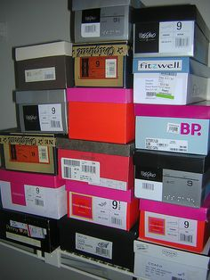 tagged boxes to classify items to be moved