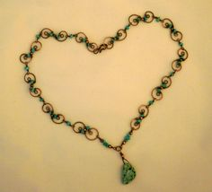 ~ Michele ~  American mine Turquoise and copper necklace. ~ Designed by The Feathered Mane