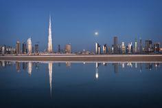 Dubai #moon #skyline