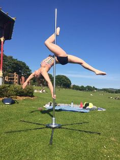 Our student creating some amazing lines in the sunshine! Pole dancing, pole fitness, pole position Scotland, beautiful, Dundee