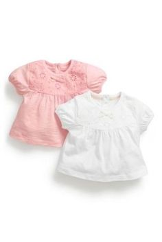 Buy Pink And White Lace Trim Short Sleeved T-Shirts Two Pack (0-18mths) from the Next UK online shop