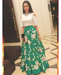 Buy Shraddha Kapoor Green Bhagalpuri Silk Semi-Stitched Lehenga Choli online in India at best price.Shraddha Kapoor Green Bhagalpuri Silk Semi Stitched Lehenga with White Color Bhagalpuri Silk Choli, Green Salwar Designs, Lehenga Designs, Blouse Designs, Stylish Dress Designs, Stylish Dresses For Girls, Indian Attire, Indian Wear, Indian Dresses, Indian Outfits