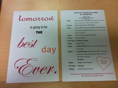 Created these wedding day itineraries (combining some ideas found on Pinterest) for our wedding party that we handled out at our Rehearsal Dinner <3