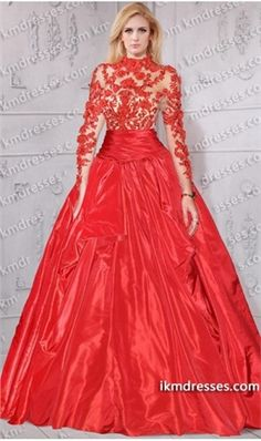 gorgeous sheer illusion lace bodice longsleeve taffeta ball gown inspired by…