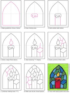 Stained glass candle drawing · art projects for children - stained glass .Stained glass candle drawing · Art projects for children - Stained glass candle drawing · Art projects for children - candle. Christmas Art For Kids, Christmas Art Projects, Christmas Paintings, Projects For Kids, Christmas Crafts, Easy Christmas Drawings, Candle Art, Glass Candle, Drawing For Kids