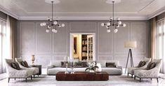 Luxury Interior, Interior Architecture, World Industries, Double Vanity, Oversized Mirror, Ceiling Lights, Inspiration, Interiors, Furniture