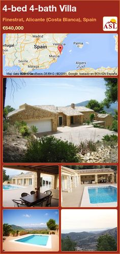 Villa for Sale in Finestrat, Alicante (Costa Blanca), Spain with 4 bedrooms, 4 bathrooms - A Spanish Life Alicante, Costa, Kitchens And Bedrooms, Double Garage, Outside Living, Summer Kitchen, Mediterranean Sea, Dining Table Chairs, Small Patio