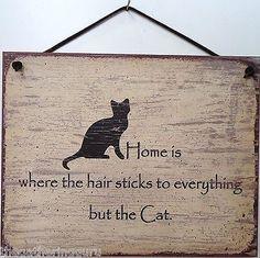 Cat Sign Home Hair Humor Feline Kitten Funny Kitty House Pet Remover Brush Tree