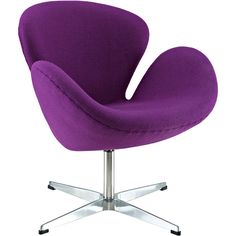Midcentury modern is ever so chic in the Purple Wool Wing Lounge Chair. Clean lines, wingback design and a deep purple hue lend to the sophistication of this ac...
