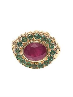 Ruby, emerald & yellow-gold ring | Jade Jagger | MATCHESFASHIO...