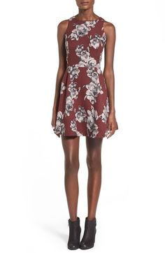 Lush Floral Print High Neck Skater Dress available at #Nordstrom