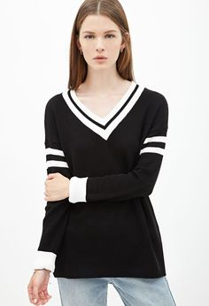 Varsity-Striped Sweater #F21StatementPiece