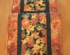 Fall Table Runner Handmade Quilted Leaves and von PatchworkMountain