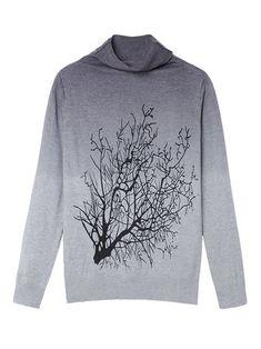 Women Cashmere Turtleneck Branch Pattern Gradient Color Sweater