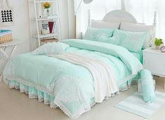 Fairy tales do come true. A stylish cotton bedding set is an easy way to shake up the decor of your bedroom. A cotton fabric which gives the bedding set a soft finish while providing durability and breathability. The lace edge and bright color will create Bedroom Green, Bedroom Bed, Mint Green Bedding, Bedroom Ideas, Master Bedroom, Mint Green Bedrooms, Mint Bedroom Decor, Master Suite, Bedroom Decor
