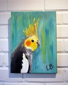 Small Bird Painting Original Acrylic on Canvas 9x12 by LoganBerard
