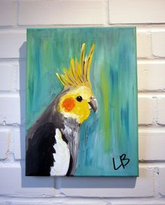 Small Bird Painting Original Acrylic on Canvas 9x12 by LoganBerard
