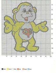 Playful Heart Monkey - Care Bear Cousins fur color 1 yellow (2000s toyline), 2 light orange (original series), or 3 brown (American Greetings Art)