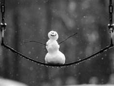 Winter snowman on the swing..