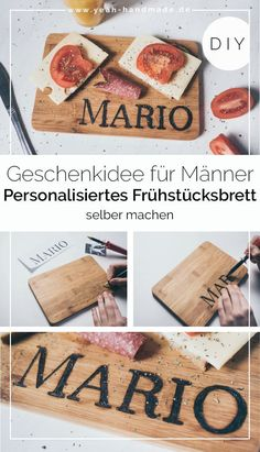 DIY Personalized Gift for Men: Breakfast Board Yeah Handmade Diy Gifts For Men, Diy For Men, Pretty Hand, Diy Cadeau, Personalized Gifts For Men, Diy Presents, How To Make Breakfast, Valentine's Day Diy, Last Minute Gifts