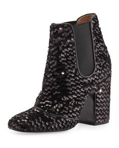 Mila Sequined 100mm Chelsea Boot, Black by Laurence Dacade at Neiman Marcus.