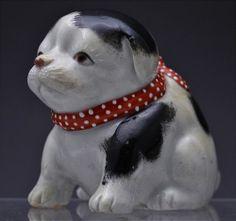 RARE 19TH JAPANESE ARITA KUTANI BLUE WHITE RED ENAMEL PUPPY DOG PORCELAIN FIGURE