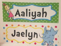 One of a kind Dr. Seuss student name tags for desks/tables!