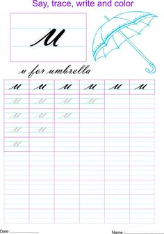 Cursive small letter 'u' worksheet Handwriting Worksheets For Kids, Cursive Handwriting Practice, Cursive Writing Worksheets, English Worksheets For Kids, Kindergarten Math Worksheets, Writing Cursive, Nursery Worksheets, Calligraphy Practice, Kindergarten Writing