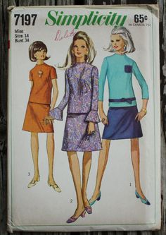 Simplicity 7197 1960s 60s Mini Mod Dress by EleanorMeriwether