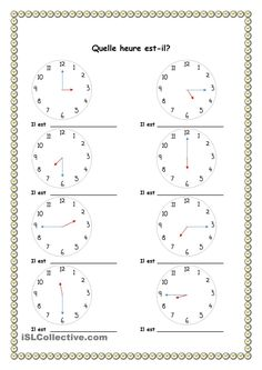 Looking for a Telling Time Worksheets Esl. We have Telling Time Worksheets Esl and the other about Benderos Printable Math it free. Color Worksheets For Preschool, Printable Math Worksheets, French Worksheets, French Education, Core French, French Classroom, French Resources, School Subjects, French Lessons