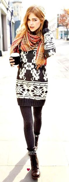 sweater dress ensemble, wool tights, scarf, boots