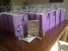 """WELCOME BAG idea. Could add a sticker with retreat theme name """"Come to the Table"""" on the front."""