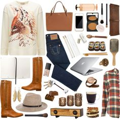 Welcome Fall. Warm shirts, long boots, lot of browns.