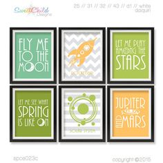Baby Boy Outer Space Nursery Artwork Baby by SweetChildDesignsFL