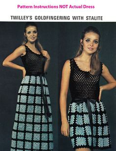 crochet granny square dress with mesh bodice