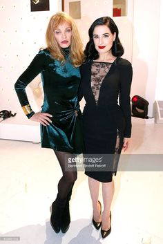 Arielle Dombasle and Dita Von Teese who presents her futur show 'Dita's Crazy Show', which will be performed at 'Crazy Horse' from 15 to 30 March 2016, during the 'Vivement Dimanche' French TV Show at Pavillon Gabriel on January 6, 2016 in Paris, France.