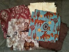 "Rustic Horse saddle cowboy boot Flannel  rag quilt kit fringed die cut fabric squares batting complete set  ready to sew 45.5""x58.5   #western, #horse, #cowboy,  #ragquilt, #quiltkit, #flannel, #quilt, #sewing, #fabric, #diecut, #fringed, #quiltsquares  - pinned by pin4etsy.com"
