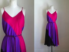 vintage 1970s dress - COLOR BLOCK chiffon dress / S/M