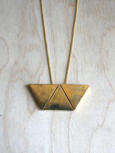 Brass Trapezoid Necklace. $45,00, via Etsy.