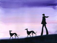 Cartoon Dog, Dog Cartoons, Funny Paintings, Painting Prints, Art Prints, Lurcher, Whippets, Silhouette Art, Italian Greyhound