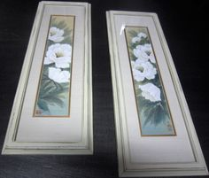 REDUCED** Vintage Framed Floral Art, Antique White Framed Art, Floral Art, Shabby Chic, French Country by SoulsationsVintage on Etsy Vintage Wall Art, Vintage Frames, Vintage Walls, White Framed Art, Art Floral, Green Flowers, French Country, Color Pop, Shabby Chic