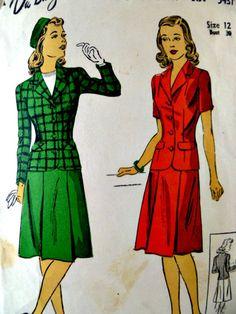 Vintage 40s DuBarry 5437 Pattern Misses Two by VintageNeedleFinds,
