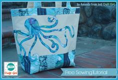 Nautical Octopus Beach Tote – Free Sewing Tutorial + Applique Pattern by Jedi Craft Girl Bonus: Brother ScanNCut demo video ✯