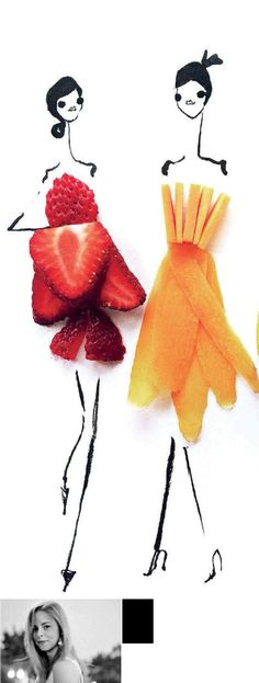 14-08-15-parati-Gretchen Röehrs es una diseñadora y artista estadounidense cuyas divertidas y originales ilustraciones de moda con frutas y verduras revolucionaron las redes sociales. Vestidas para comer.