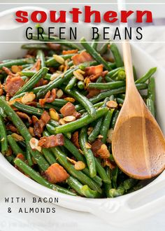 These Southern Green Beans with Bacon and Almonds are a side dish recipe that's a staple at any holiday dinner! Full of flavor and super easy to make, my whole family loves these! Southern Green Beans, Southern Greens, Green Beans With Almonds, Green Beans With Bacon, Bacon Recipes, Side Dish Recipes, Cooking Recipes, Easy Recipes, Cooking Tips