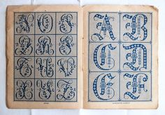 French alphabet embroidery booklet, Small vintage monogram template book,Antique initials patterns by honeyandsea on Etsy https://www.etsy.com/listing/211107707/french-alphabet-embroidery-booklet-small