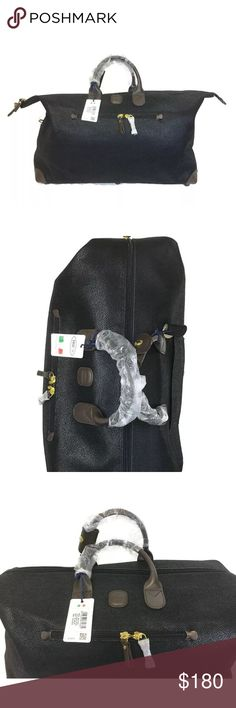 """☄️SALE☄️Bric's 22"""" duffle BNWOT Milano life black Bric's Milano Life Speciale Holdall NWOT Black Italian Travel Bag 💼  Carry-On Shoulder Duffel Travel Bag Tote Snakeskin brics Bags Travel Bags"""